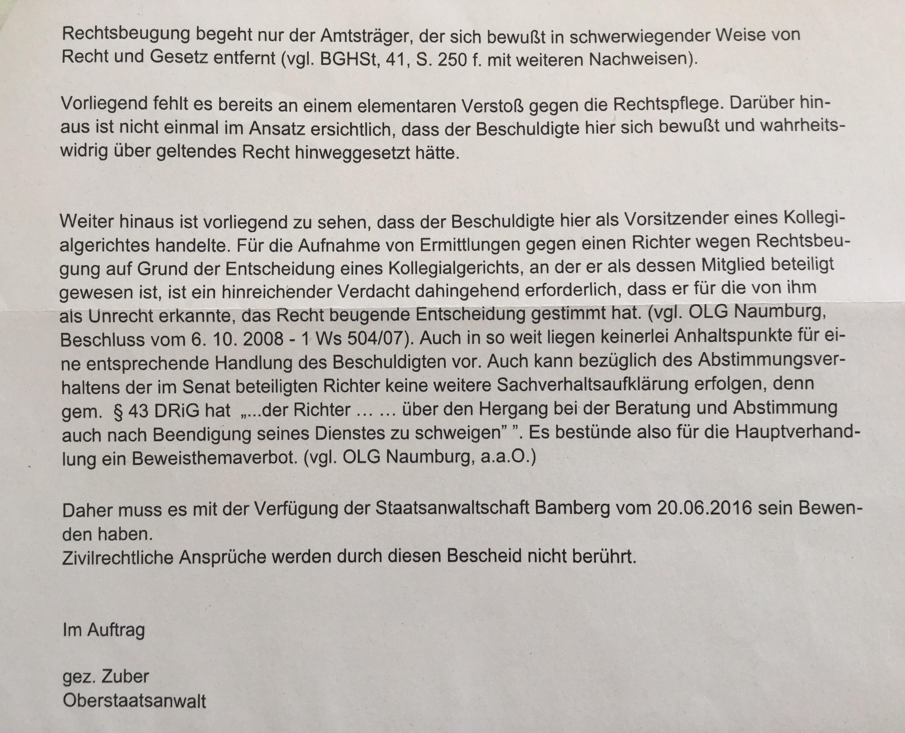 Asozialer Justizverbrecher und Kindesentfremder Pankraz Reheußer weiter  durch Täterumfeld OLG Bamberg gedeckt: Klageerzwingung und weitere  Strafanzeige | ...