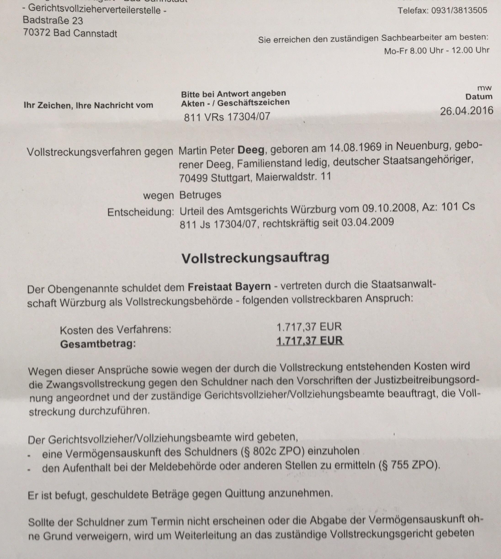 Bayerns dümmste Arschlochbehörde: die Staatsanwaltschaft Würzburg ...